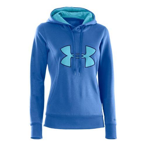 Womens Under Armour AF Storm Big Logo Warm-Up Hooded Jackets - Blue Taro/Blu-Away XS