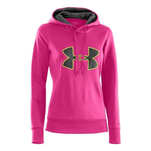 Womens Under Armour AF Storm Big Logo Warm-Up Hooded Jackets - Chaos/Carbon Heather XL