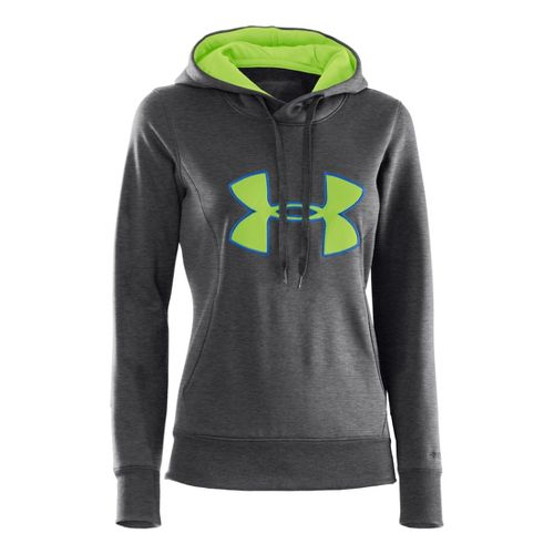Womens Under Armour AF Storm Big Logo Warm-Up Hooded Jackets - Carbon Heather/Blu-Away XS