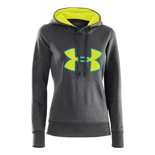 Womens Under Armour AF Storm Big Logo Warm-Up Hooded Jackets - Carbon Heather/Pirate Blue M ...