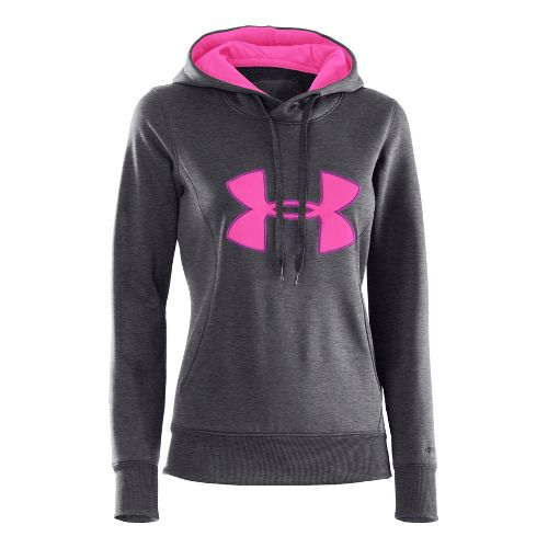 Womens Under Armour AF Storm Big Logo Warm-Up Hooded Jackets - Carbon Heather/Pinkadelic M