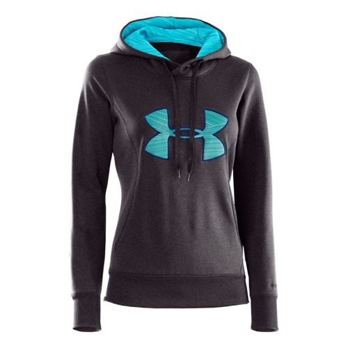 Womens Under Armour AF Storm Big Logo Warm-Up Hooded Jackets - Carbon Heather/Tobago XS