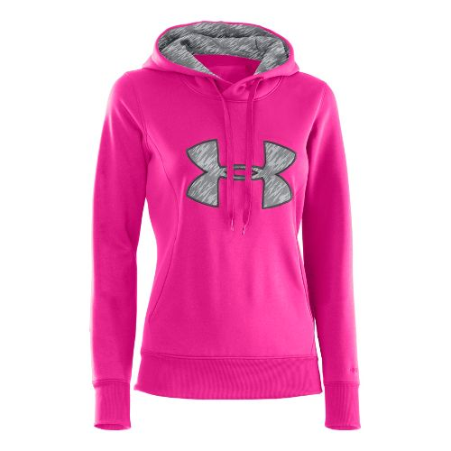 Womens Under Armour AF Storm Big Logo Warm-Up Hooded Jackets - Cerise/Grey XS