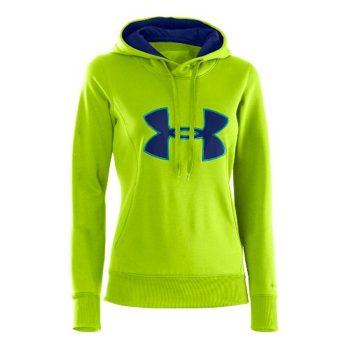 Womens Under Armour AF Storm Big Logo Warm-Up Hooded Jackets - Hyper Green/Cerulean L