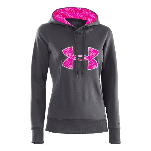 Womens Under Armour AF Storm Big Logo Warm-Up Hooded Jackets - Lead/Cerise XS
