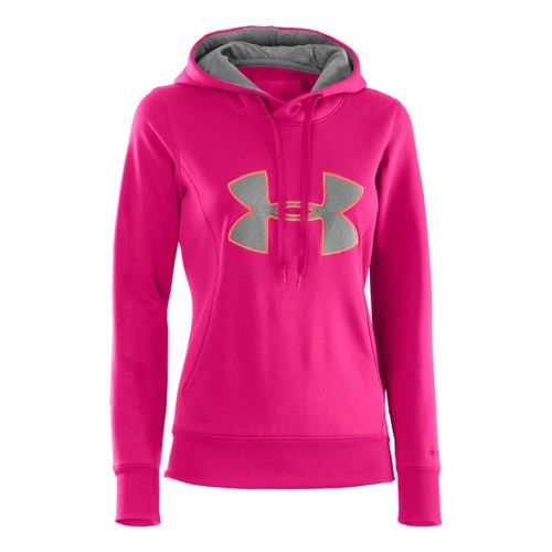 Womens Under Armour AF Storm Big Logo Warm-Up Hooded Jackets - Pinkadelic/Electric Tangerine XS