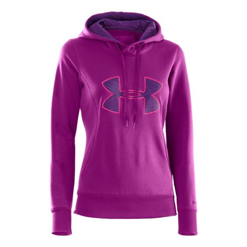 Womens Under Armour AF Storm Big Logo Warm-Up Hooded Jackets - Strobe/Pinkadelic M
