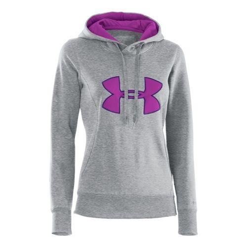 Womens Under Armour AF Storm Big Logo Warm-Up Hooded Jackets - True Grey/Purple Rain M ...