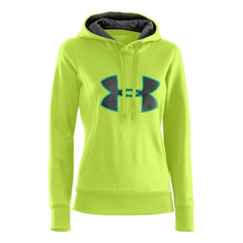 Womens Under Armour AF Storm Big Logo Warm-Up Hooded Jackets - X-Ray/Carbon Heather L