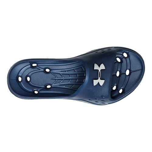 Kids Under Armour Locker II SL Sandals Shoe - Midnight Navy/Matte Silver 4
