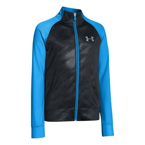 Kids Under Armour Boy Brawler II Full Zip Running Jackets - Anthracite/Electric Blue L