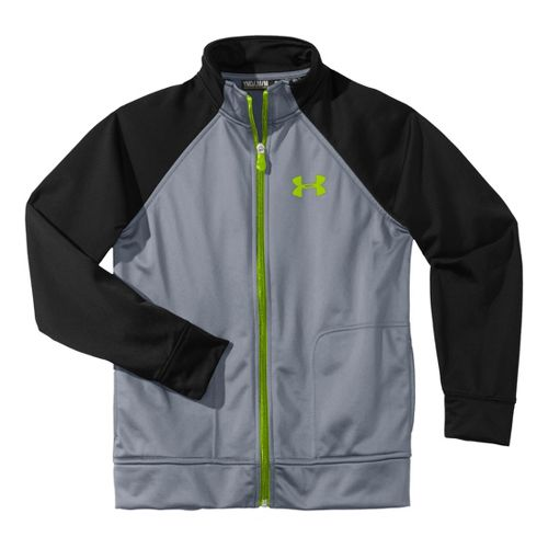 Kids Under Armour Boy Brawler II Full Zip Running Jackets - Black/Steel L