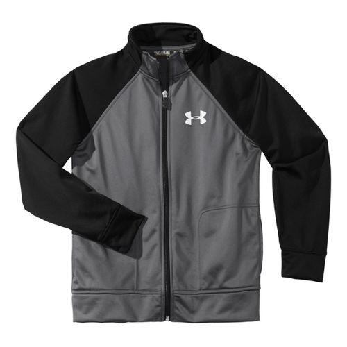 Kids Under Armour Boy Brawler II Full Zip Running Jackets - Graphite/Black M