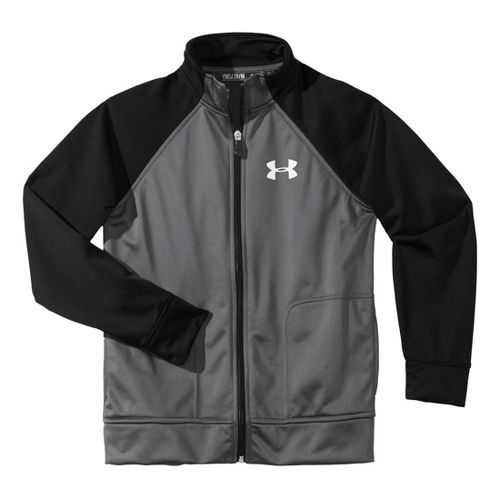 Kids Under Armour Boy Brawler II Full Zip Running Jackets - Graphite/Black S