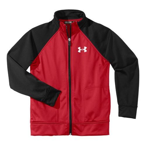 Kids Under Armour Boy Brawler II Full Zip Running Jackets - Red/Black L