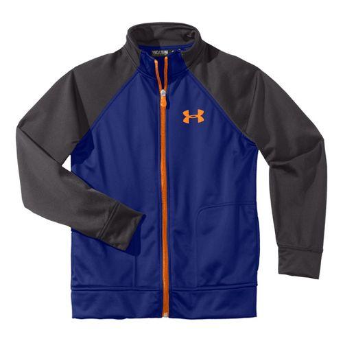 Kids Under Armour Boy Brawler II Full Zip Running Jackets - Royal/Charcoal XS