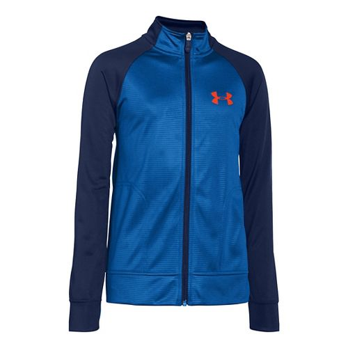 Kids Under Armour Boy Brawler II Full Zip Running Jackets - Scatter/Deep Space Blue XS ...
