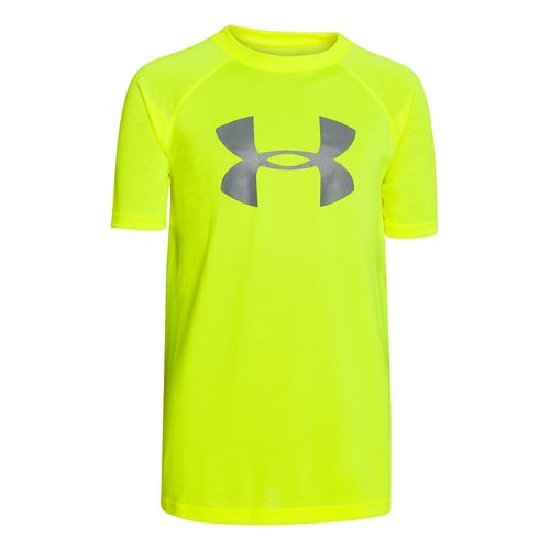 Under Armour Boys Tech Big Logo Short Sleeve Technical Tops - Graphite/Overcast YL
