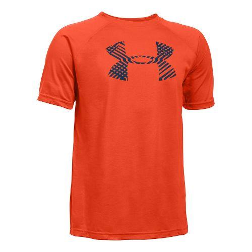 Under Armour Boys Tech Big Logo Short Sleeve Technical Tops - Dark Orange/Navy YM