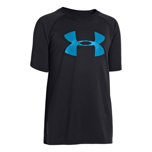 Kids Under Armour Boys Tech Big Logo Short Sleeve Technical Tops - Black/Pirate Blue L ...