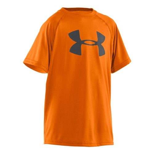 Kids Under Armour Boys Tech Big Logo Short Sleeve Technical Tops - Blaze Orange/Graphite XL ...