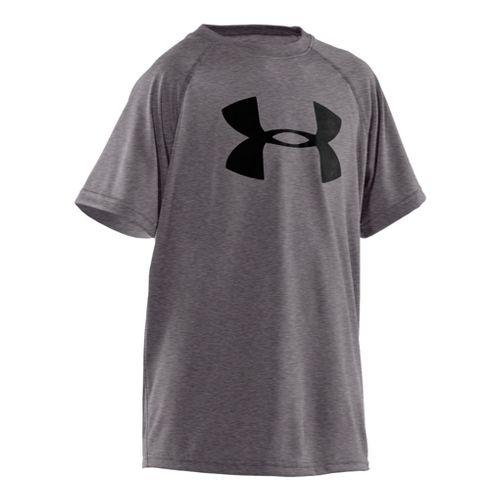 Kids Under Armour Boys Tech Big Logo Short Sleeve Technical Tops - Carbon Heather/Black XS ...