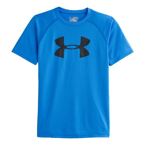 Kids Under Armour Boys Tech Big Logo Short Sleeve Technical Tops - Electric Blue/Anthracite XS ...