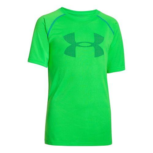 Kids Under Armour Boys Tech Big Logo Short Sleeve Technical Tops - Green Energy/Scatter S ...