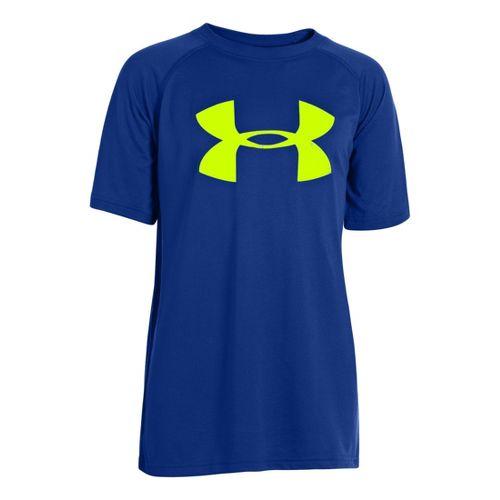 Kids Under Armour Boys Tech Big Logo Short Sleeve Technical Tops - Royal/Hi-Viz Yellow S ...