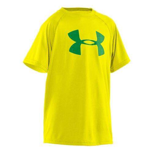 Kids Under Armour Boys Tech Big Logo Short Sleeve Technical Tops - Sun Bleached/Feisty M ...