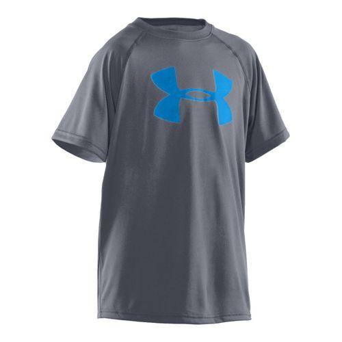 Kids Under Armour Boys Tech Big Logo Short Sleeve Technical Tops - Steel/Pirate Blue XL ...