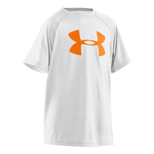 Kids Under Armour Boys Tech Big Logo Short Sleeve Technical Tops - White/Blaze Orange S ...