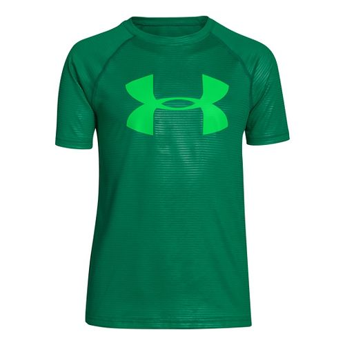 Kids Under Armour Boys Embossed/Twist Tech T Short Sleeve Technical Tops - Blade/Green Energy ...