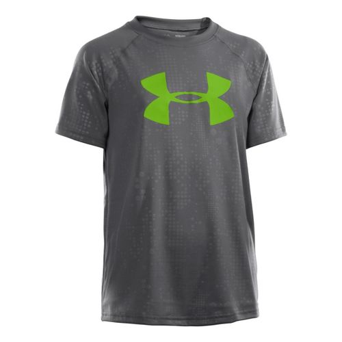 Kids Under Armour Boys Embossed/Twist Tech T Short Sleeve Technical Tops - Graphite/Poison S