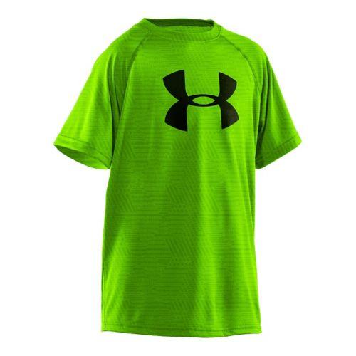 Kids Under Armour Boys Embossed/Twist Tech T Short Sleeve Technical Tops - Hyper Green/Black L ...
