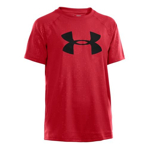 Kids Under Armour Boys Embossed/Twist Tech T Short Sleeve Technical Tops - Red XL