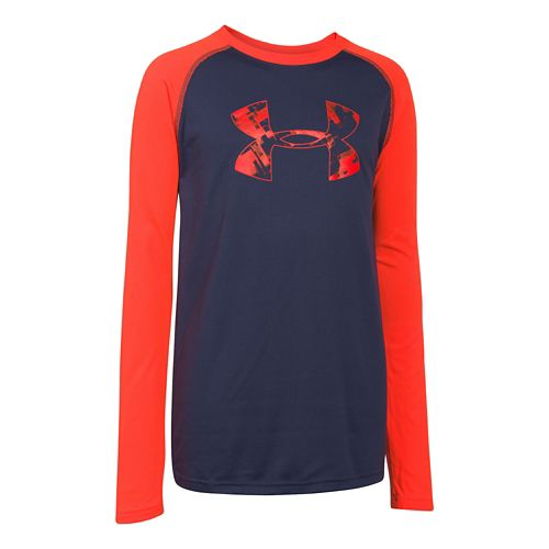 Under Armour Boys Tech T Long Sleeve No Zip Technical Tops - Blue Knight/Orange YXS