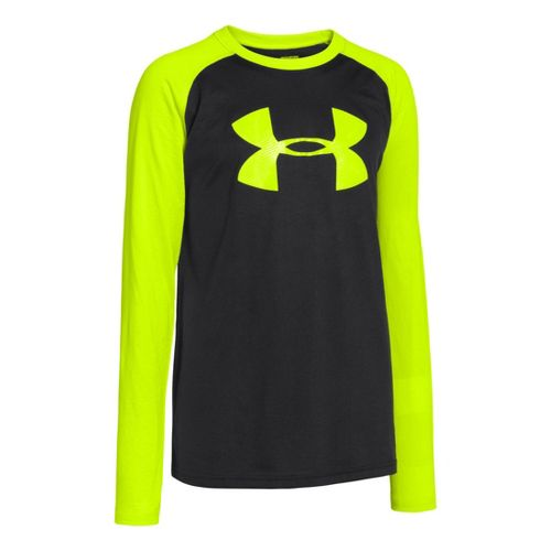 Kids Under Armour Boys Tech T Long Sleeve No Zip Technical Tops - Black/High Vis ...