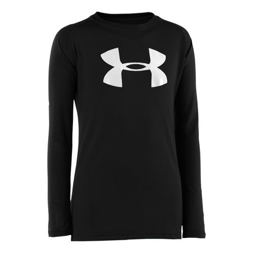 Kids Under Armour Boys Tech T Long Sleeve No Zip Technical Tops - Black/White M ...
