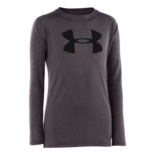 Kids Under Armour Boys Tech T Long Sleeve No Zip Technical Tops - Carbon Heather/Black ...