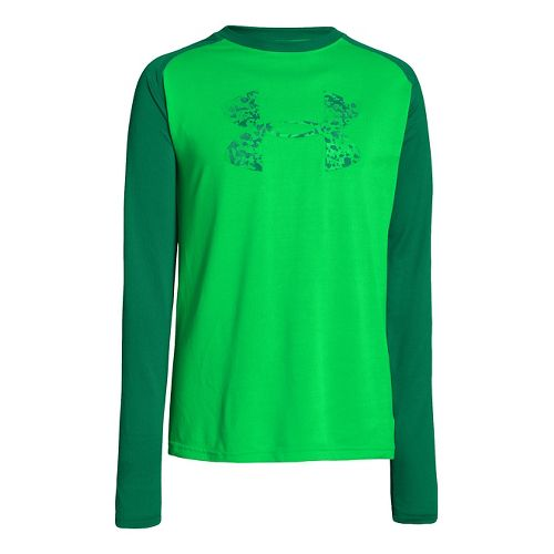 Kids Under Armour Boys Tech T Long Sleeve No Zip Technical Tops - Green Energy/Blade ...