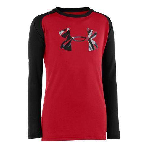 Kids Under Armour Boys Tech T Long Sleeve No Zip Technical Tops - Red/Black M ...