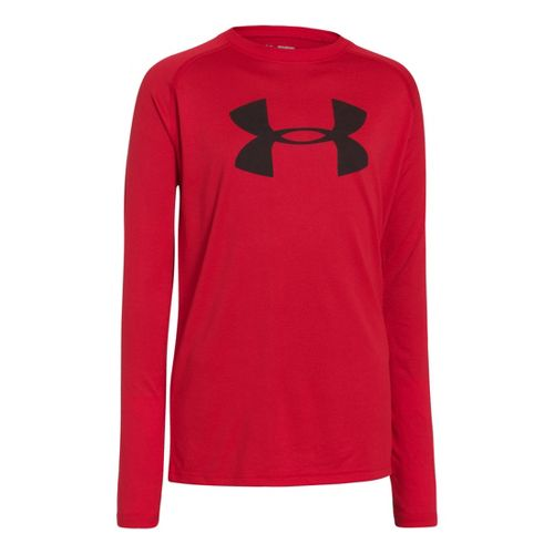 Kids Under Armour Boys Tech T Long Sleeve No Zip Technical Tops - Red/Black M ...