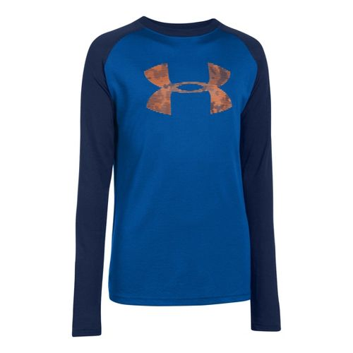 Kids Under Armour Boys Tech T Long Sleeve No Zip Technical Tops - Scatter/Deep Space ...