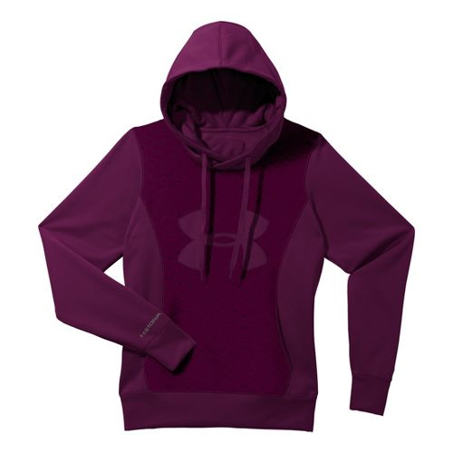 Womens Under Armour Fleece Storm Eclipse Big Logo Warm-Up Hooded Jackets - Aubergine/Aubergine S
