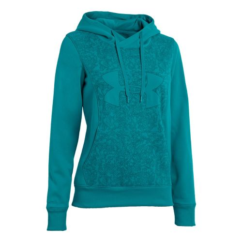 Womens Under Armour Fleece Storm Eclipse Big Logo Warm-Up Hooded Jackets - Cerulean/Cerulean S