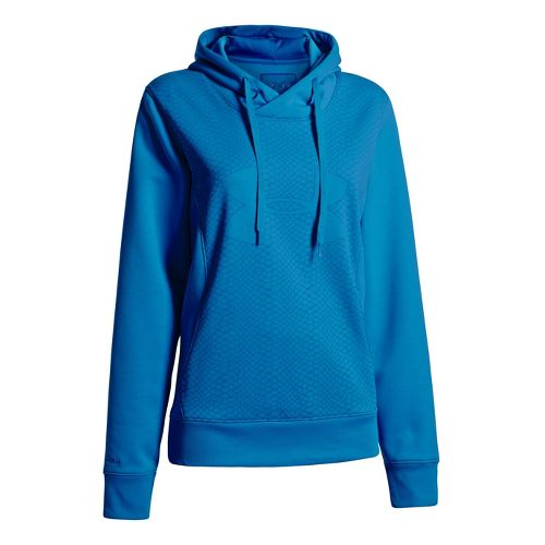 Womens Under Armour Fleece Storm Eclipse Big Logo Warm-Up Hooded Jackets - Pirate Blue/Pirate ...