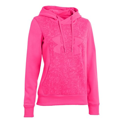 Womens Under Armour Fleece Storm Eclipse Big Logo Warm-Up Hooded Jackets - Pinkadelic/Pinkadelic L