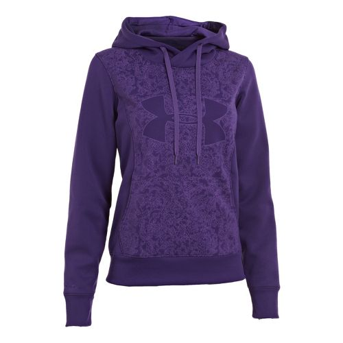 Womens Under Armour Fleece Storm Eclipse Big Logo Warm-Up Hooded Jackets - Purple Rain/Purple ...