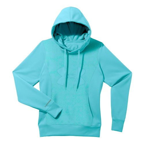 Womens Under Armour Fleece Storm Eclipse Big Logo Warm-Up Hooded Jackets - Tobago/Tobago S